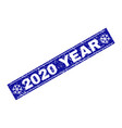 2020 year grunge rectangle stamp seal with vector image vector image
