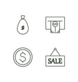 banking outline icons set vector image vector image