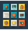 Basketball icon set in flat design style vector image vector image