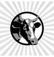 Black and white label cow vector image vector image