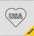 black line usa independence day icon isolated on vector image vector image