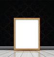 Blank picture with wooden frame leaning against vector image vector image