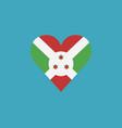 burundi flag icon in a heart shape in flat design vector image