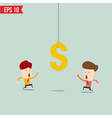 Businessman try to reach money- - EPS10 vector image vector image