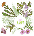 card with floral elements in hand-drawn style vector image vector image