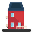 cartoon red building with bule roon white vector image
