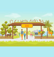 cartoon zoo entrance panorama background card vector image vector image