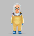 chemical protection overalls bald scientist avatar vector image