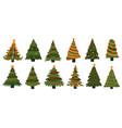 christmas tree doodle xmas evergreen plants vector image