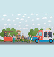 city street with food stalls flat vector image