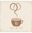 coffee cup and pretzel grunge design template vector image vector image