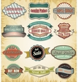 Collection of old color vintage label for design vector image vector image