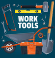 construction and work hand tools equipment vector image vector image