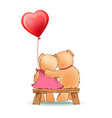 couple of bears sits on bench with red balloon vector image vector image