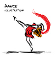 Expression dancer drawing with brush vector image