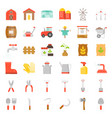 farm and agriculture equipment flat icon vector image vector image