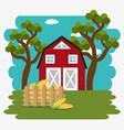 farmhouse in the farm scene vector image