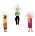 flat old senior women thinking vector image