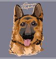 german shepherd painting poster vector image