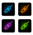 glowing neon syringe with pet vaccine icon vector image vector image