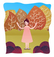 happy cute woman standing alone in garden fall vector image