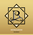 logo letter b monogram on gold background vector image vector image