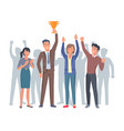 lucky and applauding four humans with gold trophy vector image vector image