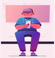 man hold smartphone cartoon vector image vector image