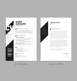 minimalist cv resume and cover letter - minimal vector image vector image