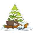 moose with pine tree covered with snow sticker vector image