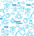 Natural milk with splashes seamless pattern design vector image vector image