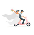 newlyweds on skooter vector image vector image