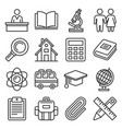 school icons set on white background line style vector image