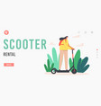 scooter rental landing page template happy young vector image