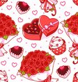 Seamless pattern for Valentines Day with a bouquet vector image vector image