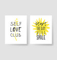 set 2 cards with hand drawn and text positive vector image vector image