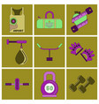 set of icons in flat design gym vector image vector image
