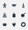 set of simple preparation icons elements birthday vector image vector image