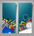 set of two vertical banners with school supplies vector image vector image