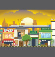 shopping street in japan with flat style vector image vector image