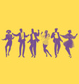 silhouettes of people dancing new wave music vector image vector image