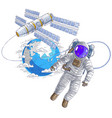spaceman flying in open space connected to space vector image vector image