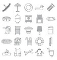 swimming equipment icon set outline style vector image