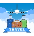 three Travel bag with clouds and plane vector image vector image