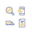 truck transport analytics and phone repair icons vector image vector image