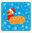 vintage card alpaca in a christmas hat and scarf vector image vector image