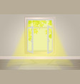 window with sunlight inside house template vector image