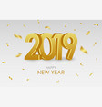 2019 new year card with gold 3d numbers vector image vector image