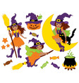 African American Halloween Witches Set vector image vector image