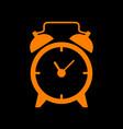 alarm clock sign orange icon on black background vector image